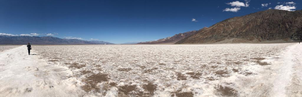 A panorama of the salt flats of Death Valley. The salt has risen from the earth forming a lattice-like pattern of rough diamonds with flat centers and roughened margins of earth.